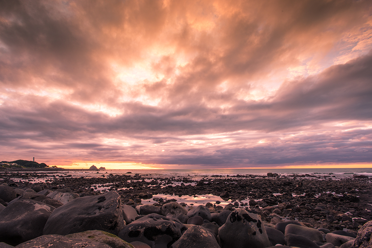 Sunset, NewPlymouth, Rocks, Shore, Sky, Coast, Beach,  Tableau_Creative, TableauCreative,